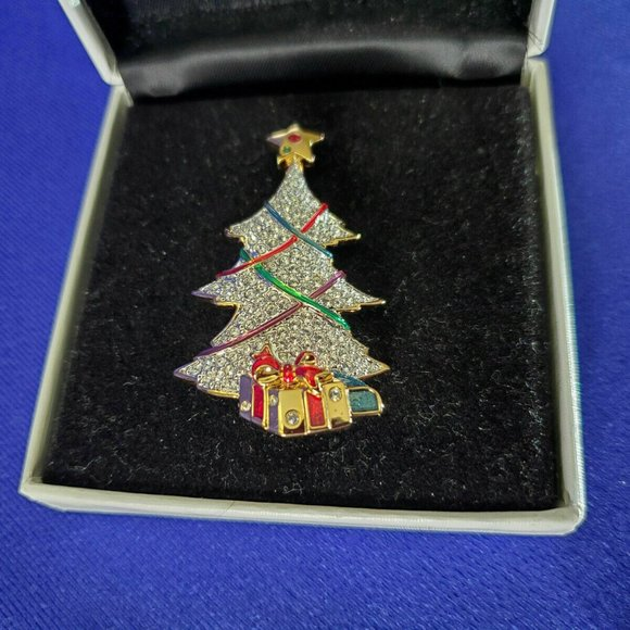 Swarovski Signed Gold Plated Christmas Tree Pin